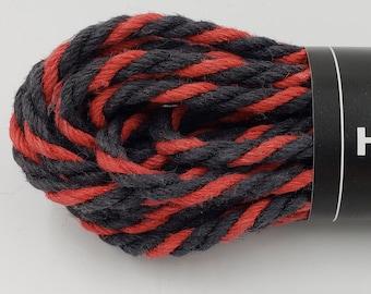 Hemp Bondage Rope Black & Red Shibari 6mm Mature