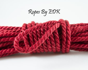 Handcrafted Red Jute Bondage Rope 6mm