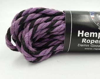 Hemp Bondage Rope Black & Purple Shibari 6mm Mature