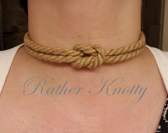 Jute Bondage Rope Necklace Collar with Square Knot - Choose your color - BDSM - Custom