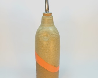 Clay bottle for storing olive oil, vinegar, any other  liquid or display. one of a kind handmade.