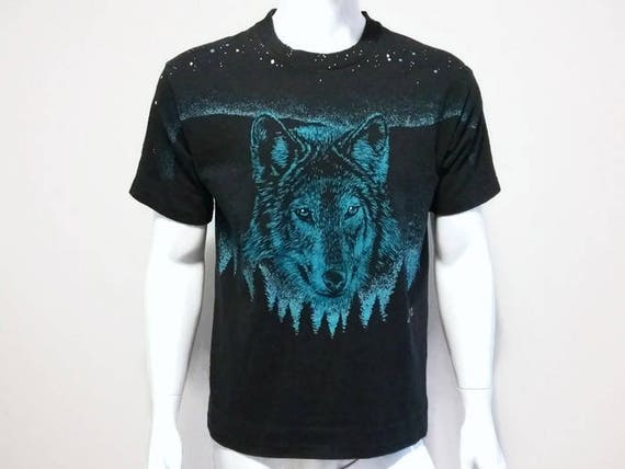 Vintage 80s Wolf Graphic Print Wild Earth Black T Shirt Size XL 83KrRd8Q