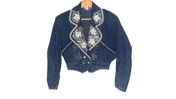 Vintage Jean Jacket - 80s - Cropped - Floral Beadi
