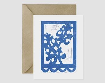Bluebonnet Texas Wildflower Block Print A2 Card