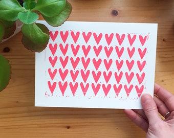 Heart Block Print Floral Valentine - Love Friendship Galentine A7 Card
