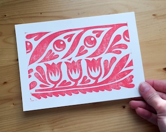 Block Print Floral Valentine - Love Friendship Galentine A7 Card