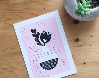 Pink Flower Vase Block Print Valentine Love Friendship Galentine A7 Card