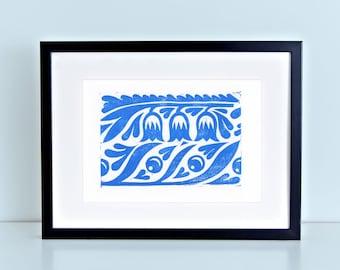 Blue Floral Folk Pattern Block Print