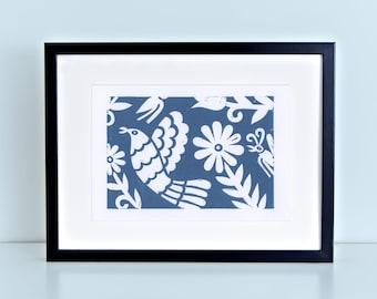 Blue Otomi Birds and Flowers Block Print - Mexican Folk Art Linocut Global Decor