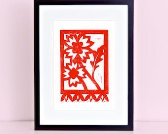 Texas Firewheel Wildflower Original Block Print -  Indian Blanket Block Print Firewheel Papel Picado 8x10 4x6