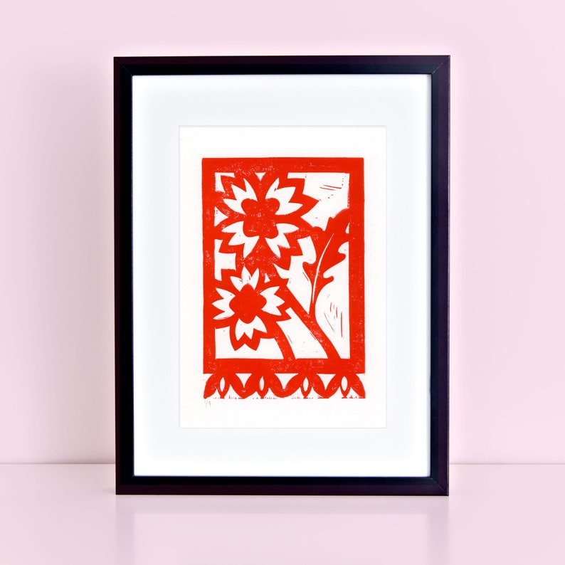 Texas Firewheel Wildflower Original Block Print   Indian image 0