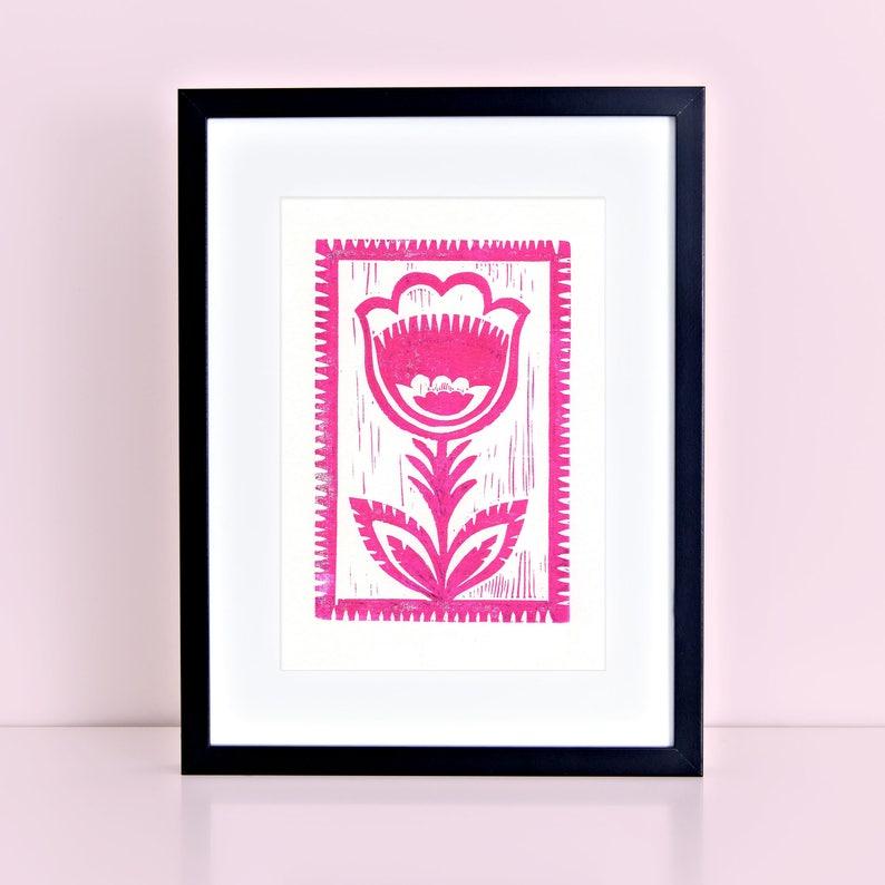 Wycinanki Polish Flower Original Block Print   Linocut Pink image 0