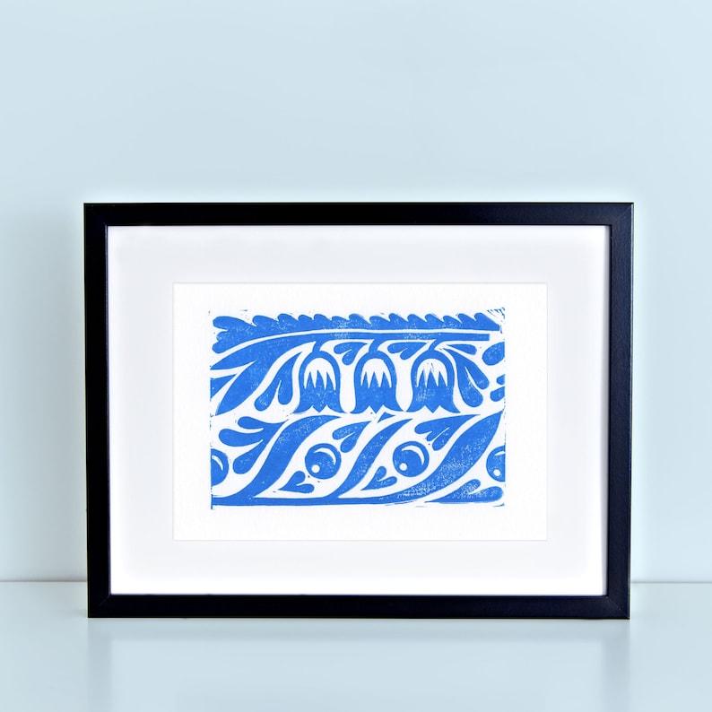 Blue Floral Folk Pattern Block Print image 0