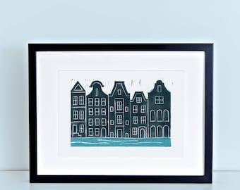 Amsterdam Linocut Block Print 8x10 4x6 artwork
