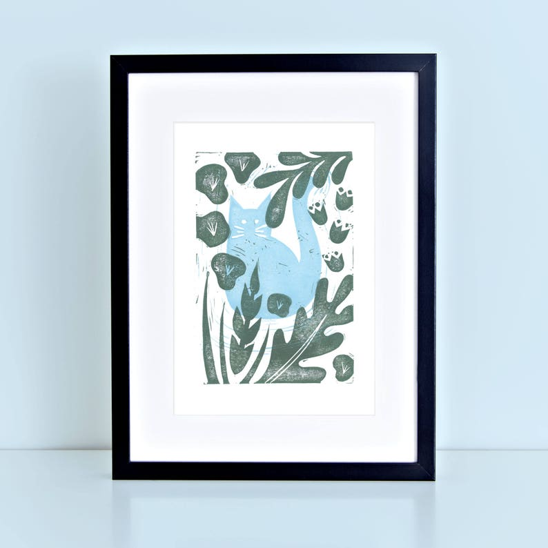 Cat Kitten Linocut Block Print Blue Garden Jungle Plants image 0