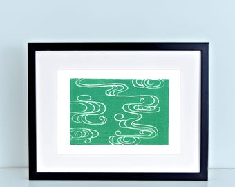 Japanese River Original Block Print