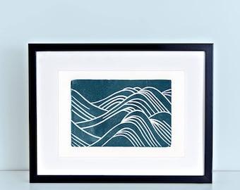 Japanese Waves Linocut Art Print 8x10 Navy Water Pattern