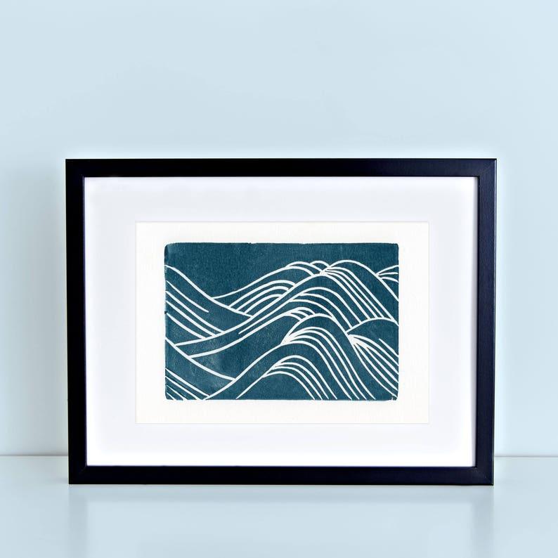 Japanese Waves Linocut Art Print 8x10 Navy Water Pattern image 0