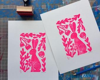 Pink Bunny in Foliage Springtime Linocut Block Print Rabbit Flowers