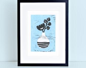 Polish Wycinanki Flower in Vase Block Print
