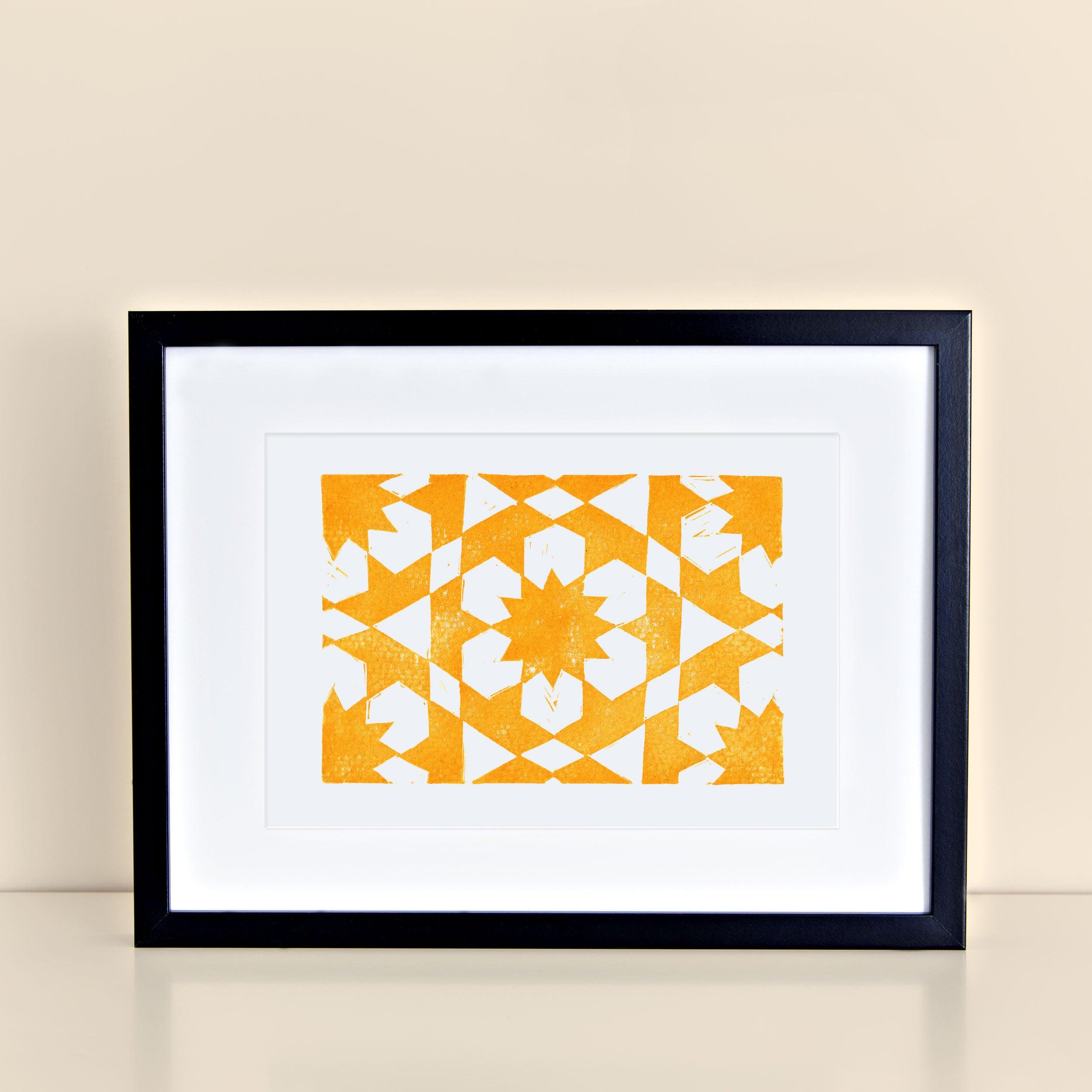 Linocut Print Moroccan Block Print Art Tile Yellow Zellij 8x10 | Etsy