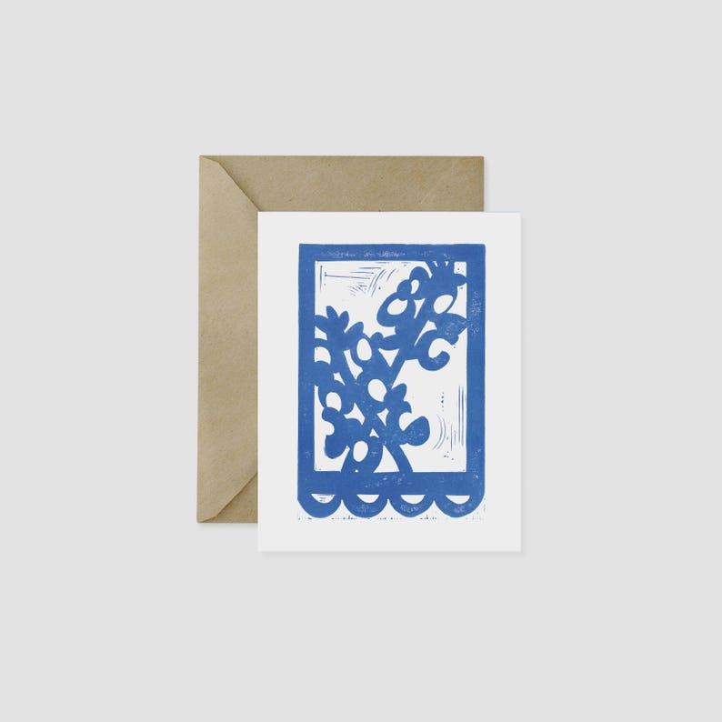 Bluebonnet Texas Wildflower Block Print A2 Card image 0