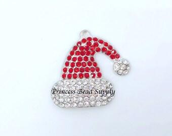 Santa Hat Rhinestone Pendant for Chunky Necklaces,  45 x 40mm Christmas Pendant,  Santa Hat Necklace Pendant