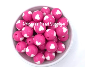 20mm Hot Pink Heart Chunky Beads, Heart Chunky Beads,  Valentine's Beads, Bubble Gum Beads, Gumball Beads, Acrylic Beads