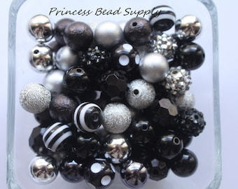 Black and Silver Mix 100 12mm Chunky Bulk Beads, 12mm Bulk Bead Mix,  12mm Mini Chunky Beads  100 Bubble Gumball Beads Wholesale Beads