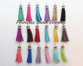 50mm Mixed Colors Suede Leather Tassels for Necklaces, Set of 10 Silver Tassel Pendants, Assorted Random Colors, Tassel Necklaces