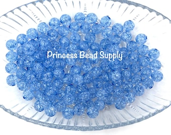 200 Royal blue crackle 6mm beads B26
