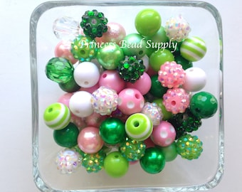 Shades of Green,Pink & White 12mm Chunky Bulk Bead Mix, 100 12mm Bulk Bead Mix, 12mm Mini Chunky Beads, St Patrick's Day Wholesale Beads