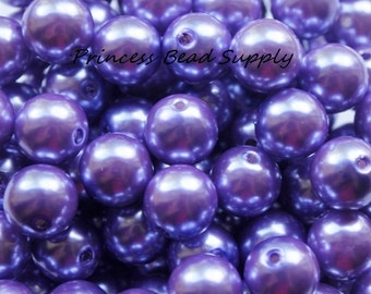 250 X 6mm Burgundy Acrylic Pearl Beads Plum Dark Purple