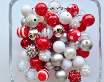 Red, Silver and White Mix 100 12mm Chunky Bulk Beads, 12mm Bulk Bead Mix Christmas 12mm Mini Chunky Beads  100 Gumball Beads Wholesale Beads