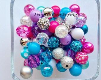 12mm Bead Mix,  100 12mm Chunky Bulk Beads, 12mm Bulk Bead Mix,  12mm Mini Chunky Beads  100 Gumball Beads Wholesale Beads