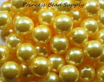 12mm Yellow Pearl Beads Set of 20 or 50,  Chunky Bubble Gum Beads, Gumball Beads, Acrylic Beads
