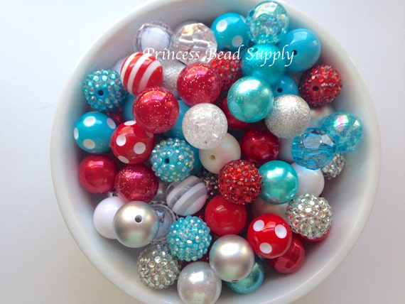 Rouge, Turquoise & blanc 20mm perles en vrac trapu, Mix, perles en gros, Bubble-Gum 100 perles Gumball de perles, perles en gros en vrac
