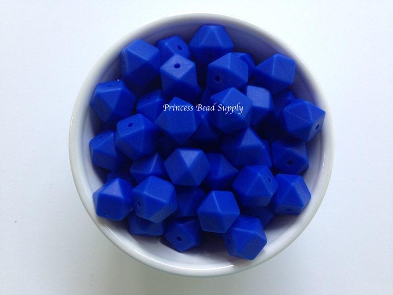 Sensory Beads Mini Hexagon Silicone Beads 14mm Royal Blue Mini Hexagon Silicone Beads 100/% Food Grade Silicone Beads BPA Free