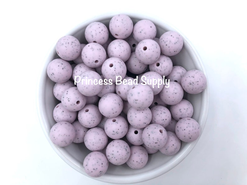 Round Silicone Beads 15mm Lilac Speckled Silicone Beads Silicone Beads