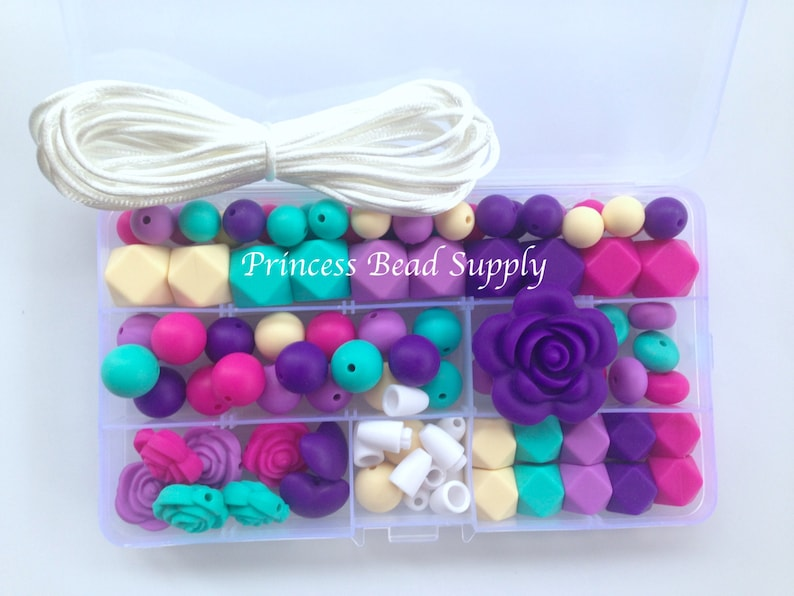 Vanilla /& Turquoise Silicone Deluxe Necklace Kit DIY Silicone Teething Necklace Kit Hot Pink Shades of Purple Food Grade Silicone Beads