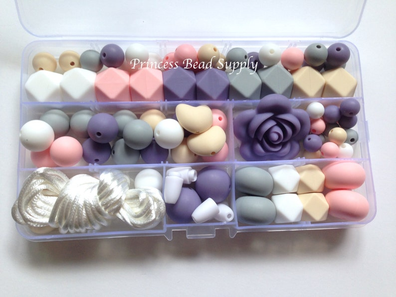Mint Shades of Purple DIY Silicone Teething Necklace Kit Food Grade Silicone Beads Pink /& White Pearl Deluxe Silicone Necklace Kit