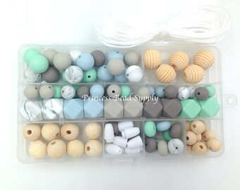 DIY Silicone & Wood Necklace Kit,  Marble, Blue, Taupe and Mint DIY Silicone Necklace Kit, Silicone Beads,  Wholesale Silicone Beads