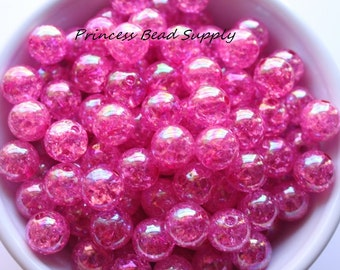 12mm Hot Pink Crackle Beads Set of 20 or 50,  Chunky Bubble Gum Beads, Gumball Beads, Acrylic Beads, Spacer Beads