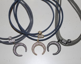 Triple Layer Necklace with Moon