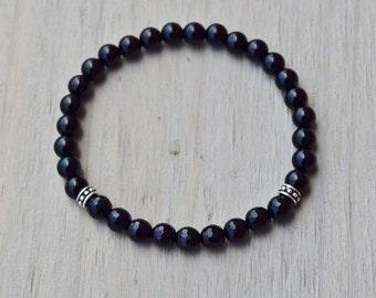 Black Onyx men's bracelet, yoga inspired jewelry, mala beads, self-control