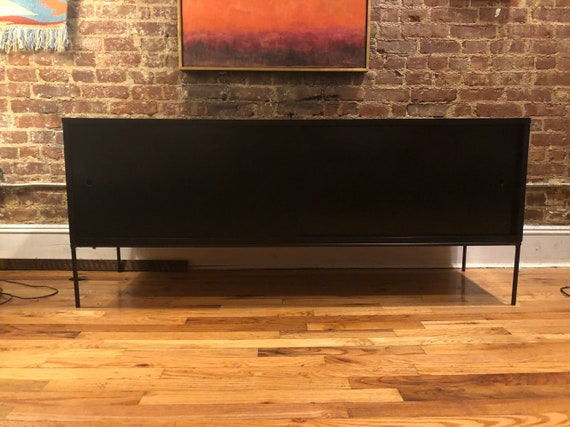 Paul mccobb mid century modern black lacquer finish credenza sideboard on modern sideboards and hutches, industrial modern credenzas, country style credenzas, post modern credenzas, modern sideboards with sliding door, made in usa modern credenzas, consoles and credenzas,