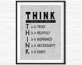 Image of: Environment Office Wall Art Inspirational Quote Motivational Wall Decor Think Before You Speak Quotes Printable Office Quote Cubicle Decor Work Prints Etsy Cubicle Decor Work Hard Smart Success Quotes Printable Office Etsy