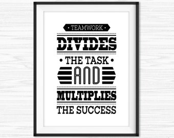 office wall art teamwork quotes printable success quotes motivational wall decor inspirational quote for office wall quote prints