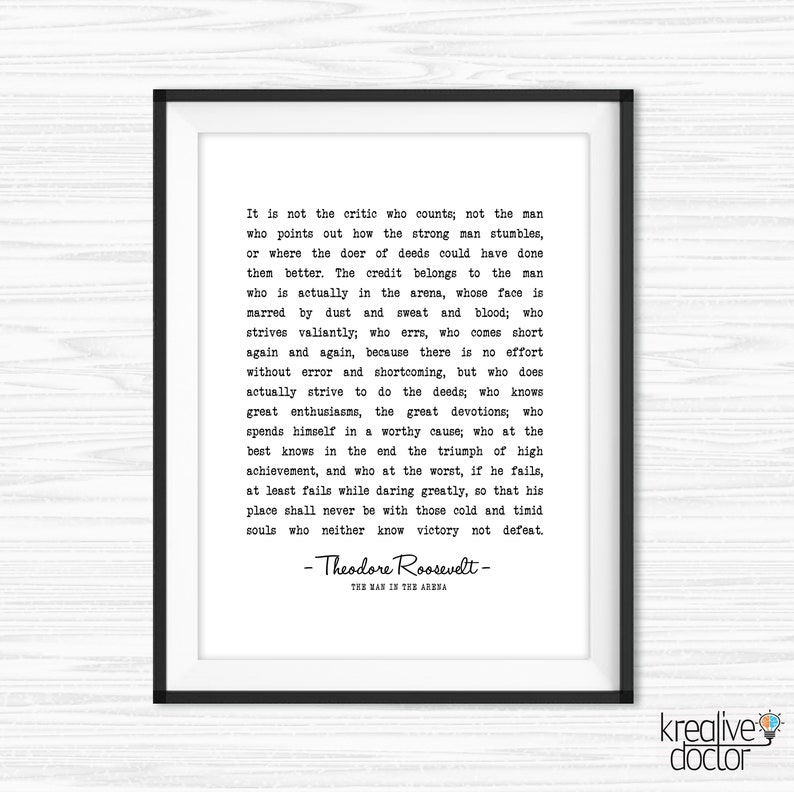 graphic regarding The Man in the Arena Printable referred to as The Male Within the Arena Printable Theodore Roosevelt Bold Dramatically Literary Quotation Prints Commencement Present Inspirational Quotation Typewriter Print
