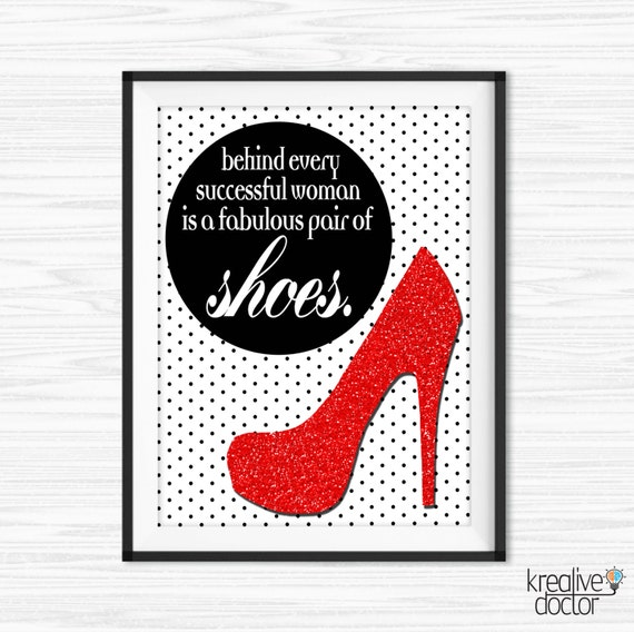 Printable Shoe Wall Art Canvas Quotes Shoe Quotes For Office Etsy